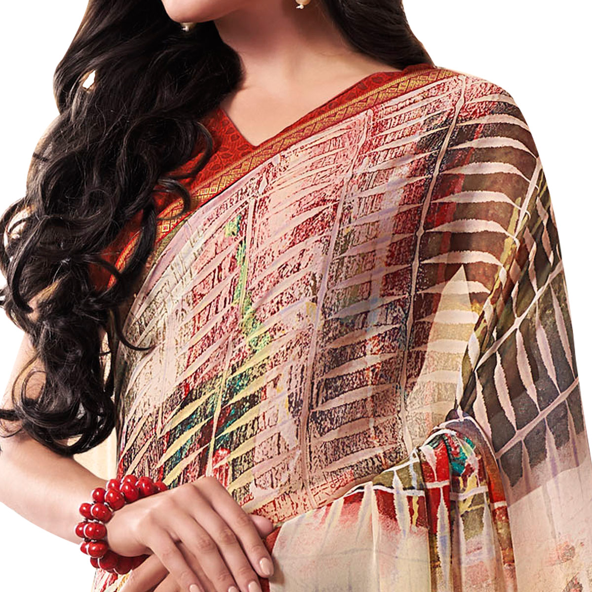 Mesmeric Off-White Colored Casual Wear Printed Georgette Saree
