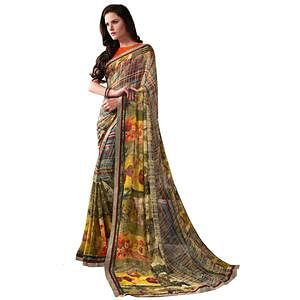 Refreshing Multi Colored Casual Wear Printed Georgette Saree