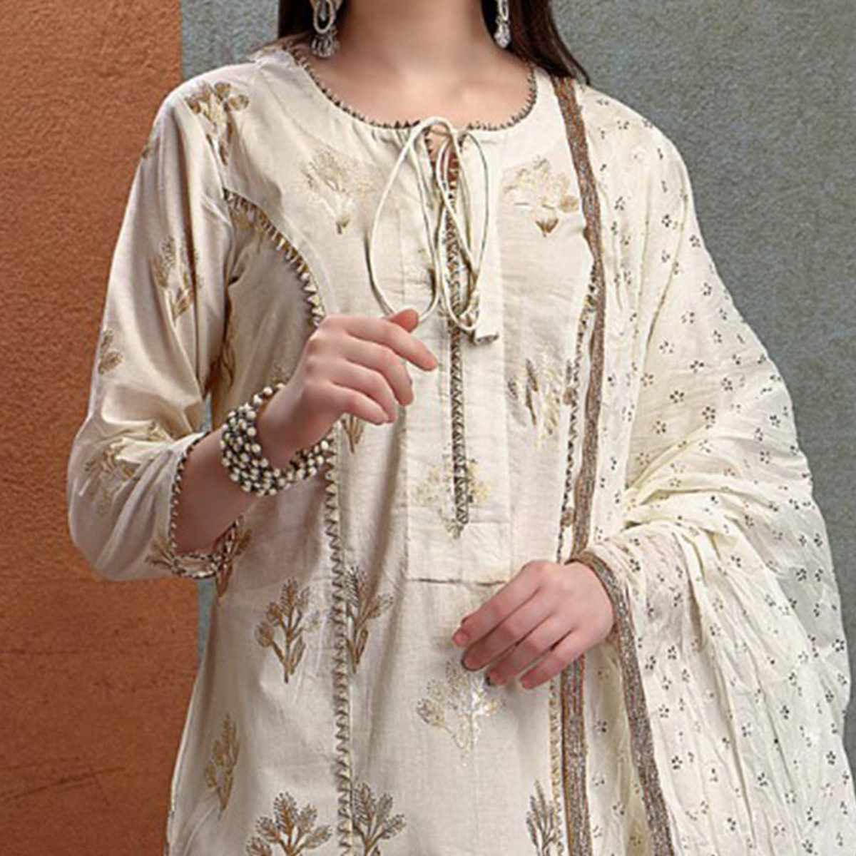 Pleasant Off-White Colored Partywear Foil Printed Pure Cotton Salwar Suit