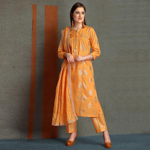 Trendy Orange Colored Partywear Foil Printed Pure Cotton Salwar Suit