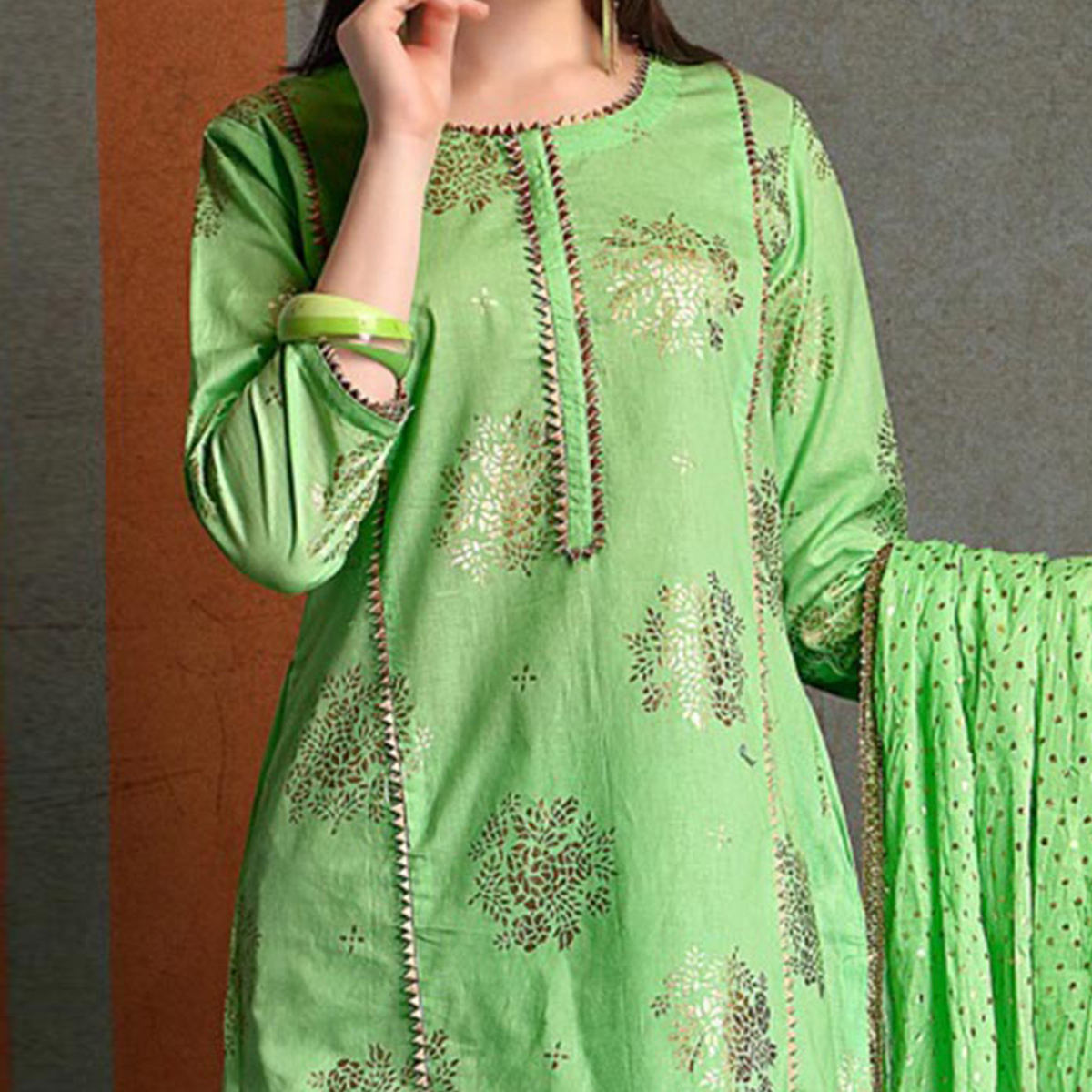 Gorgeous Green Colored Partywear Foil Printed Pure Cotton Palazzo Suit