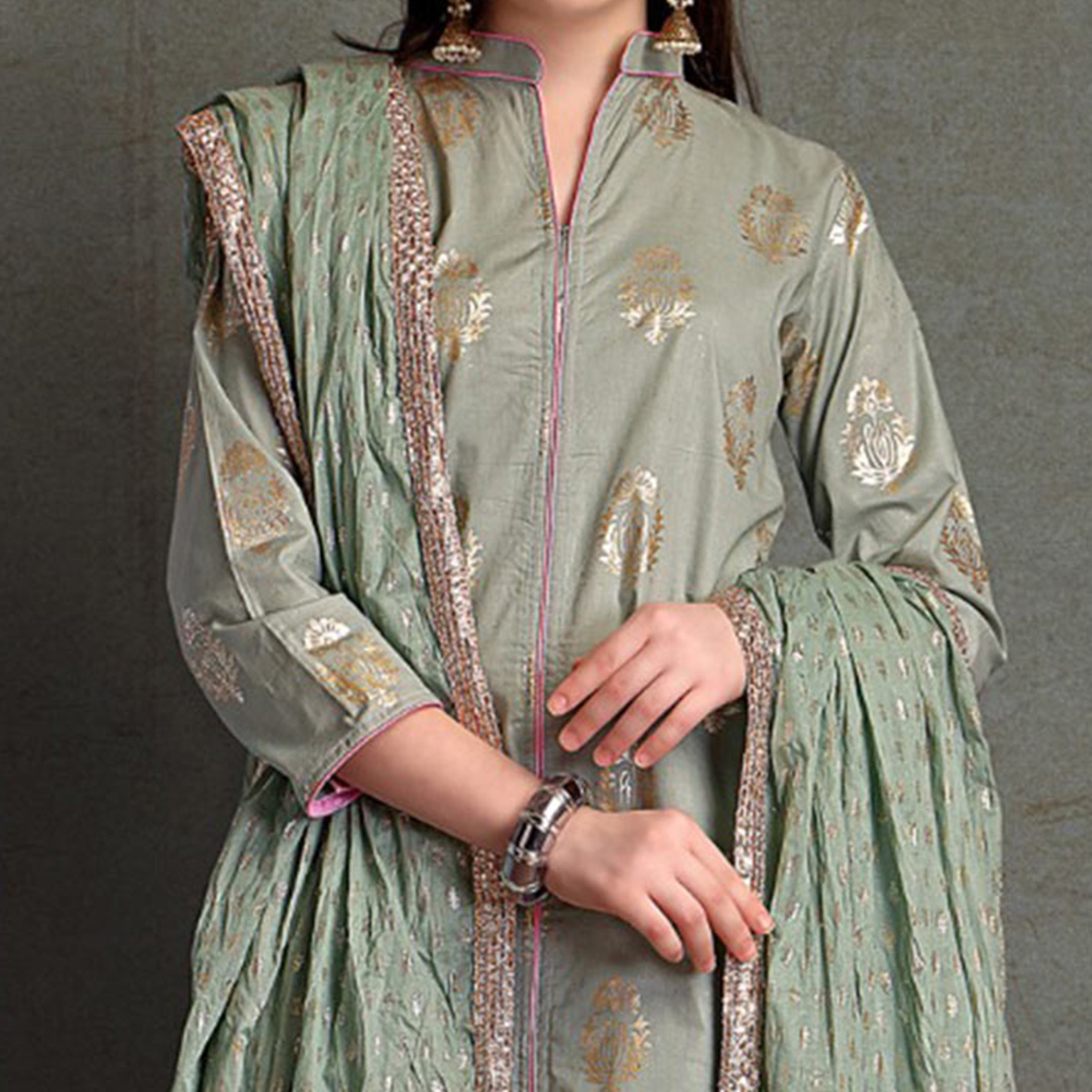 Stylish Light Olive Green Colored Partywear Foil Printed Pure Cotton Palazzo Suit