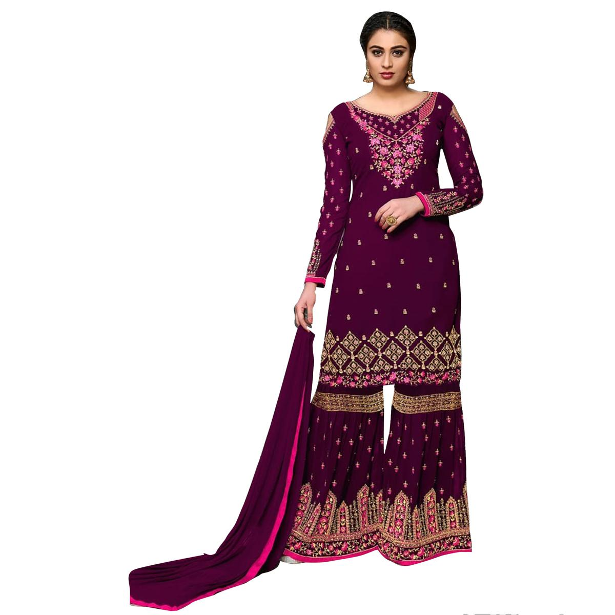 Hypnotic Magenta Colored Partywear Designer Embroidered Georgette Palazzo Suit