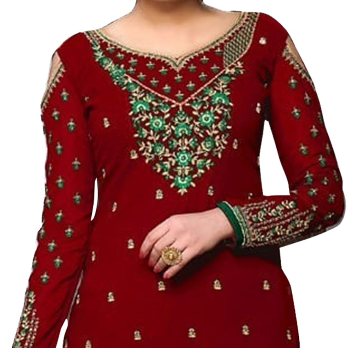 Demanding Red Colored Partywear Designer Embroidered Georgette Palazzo Suit