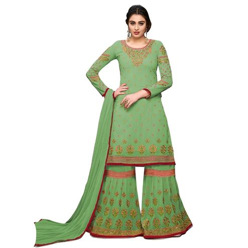 Refreshing Light Green Colored Partywear Designer Embroidered Georgette Palazzo Suit