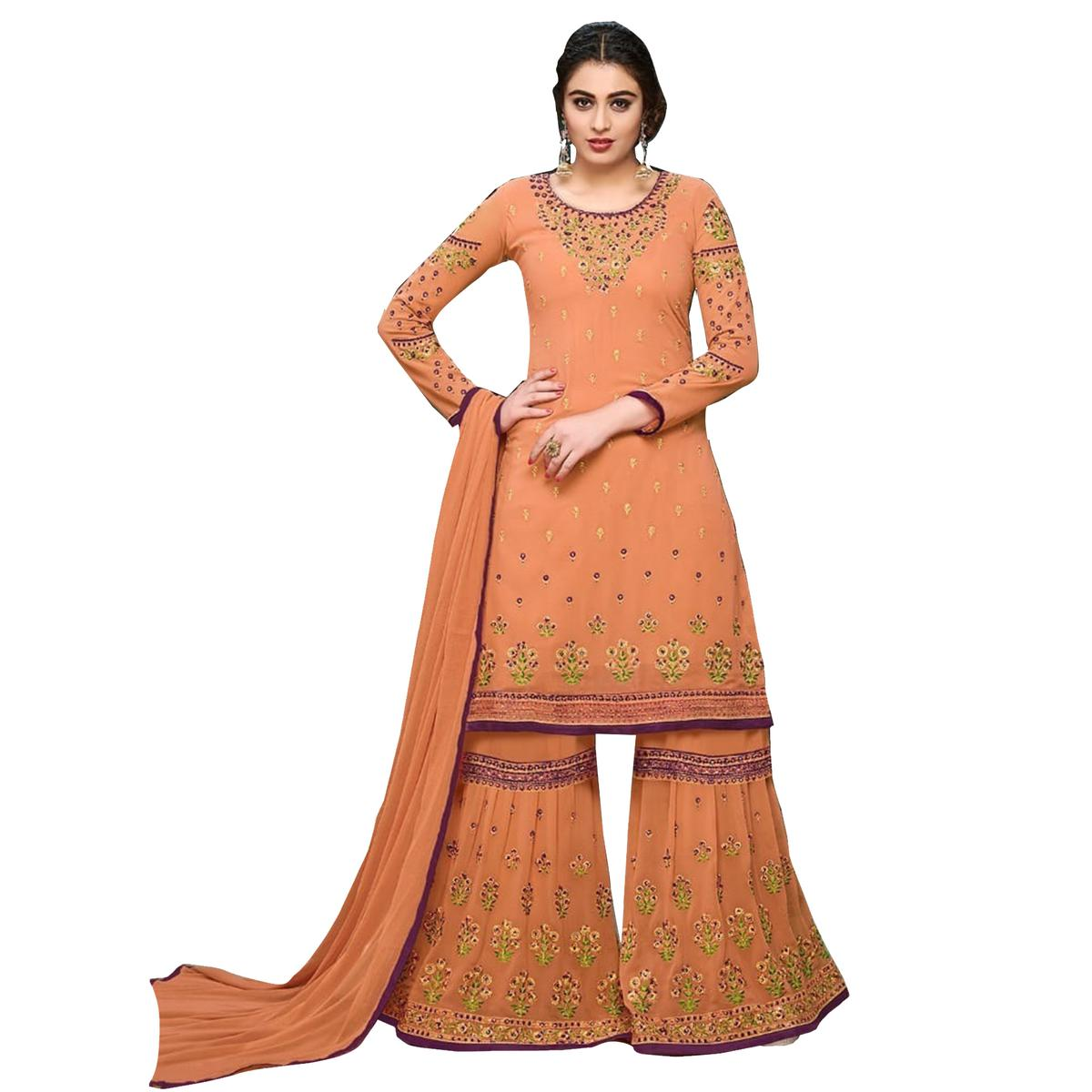 Dazzling Orange Colored Partywear Designer Embroidered Georgette Palazzo Suit