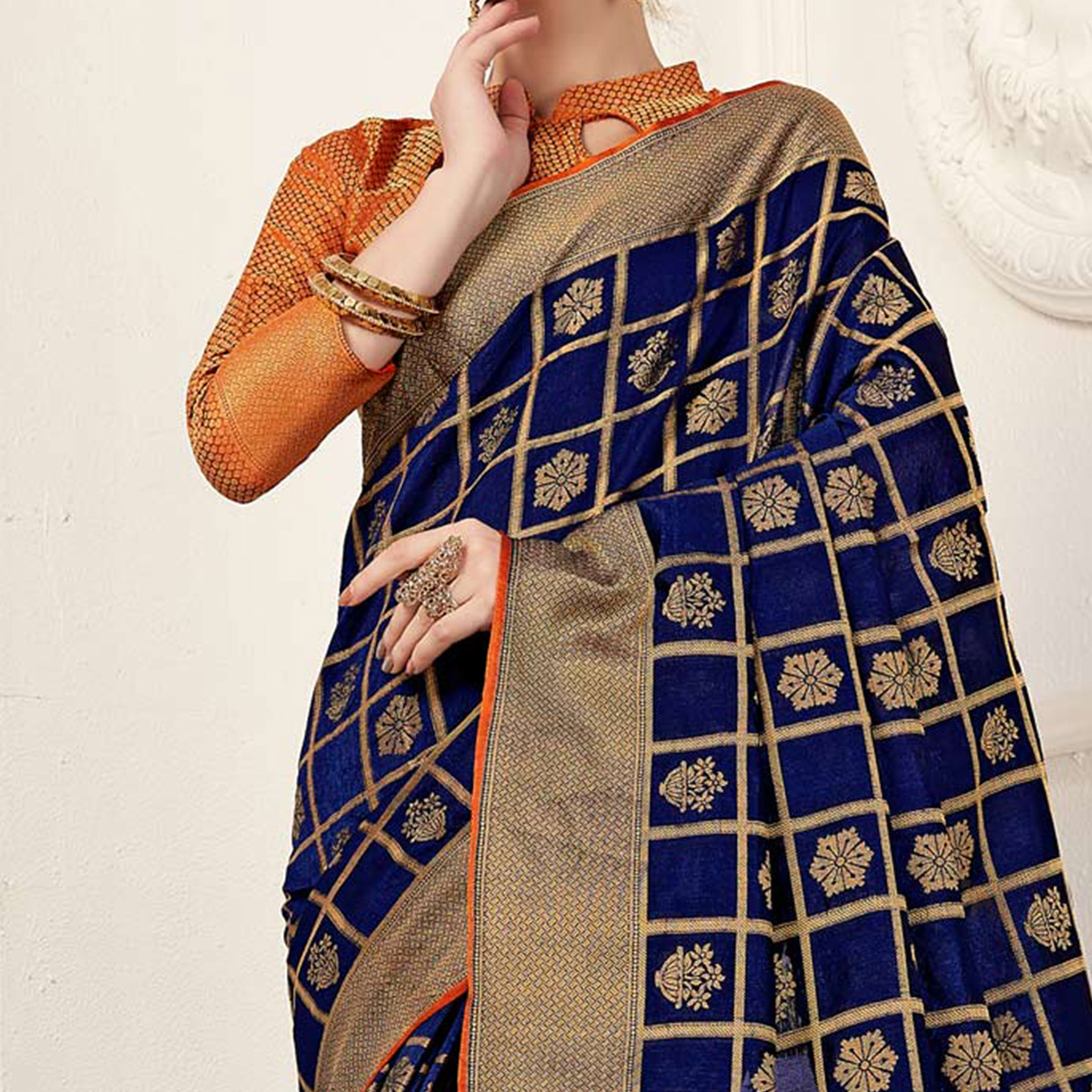Elegant Navy Blue Colored Festive Wear Woven Art Silk Saree