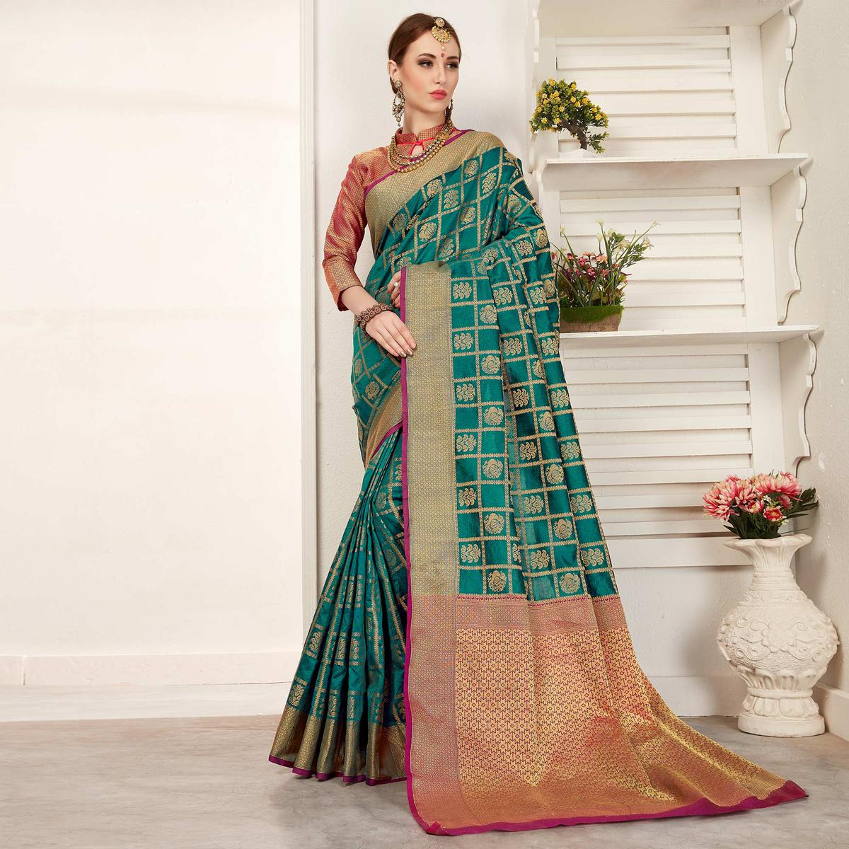 Exceptional Teal Green Colored Festive Wear Woven Art Silk Saree