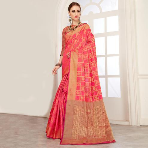 Perfect Peach Colored Festive Wear Woven Art Silk Saree