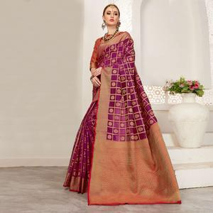 Impressive Magenta Colored Festive Wear Woven Art Silk Saree