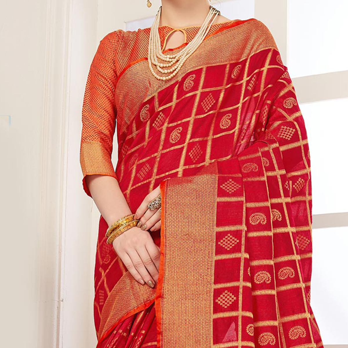 Traditional Red Colored Festive Wear Woven Art Silk Saree