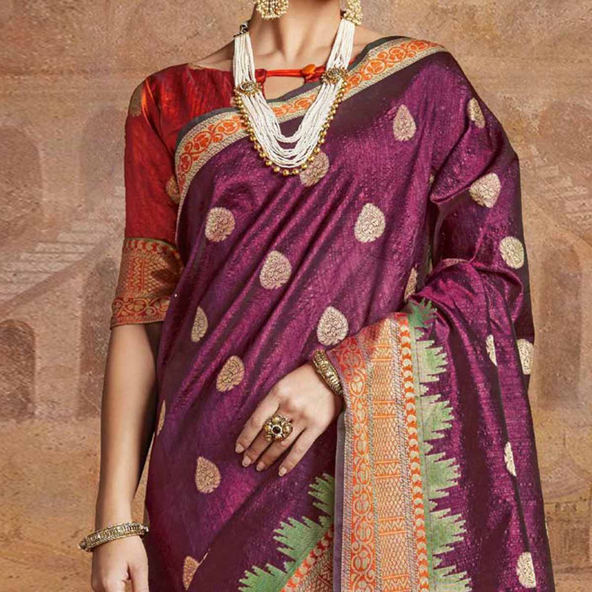 Lovely Magenta-Red Colored Festive Wear Woven Silk Saree