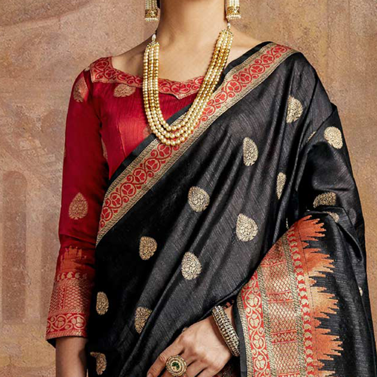 Magical Black-Red Colored Festive Wear Woven Silk Saree