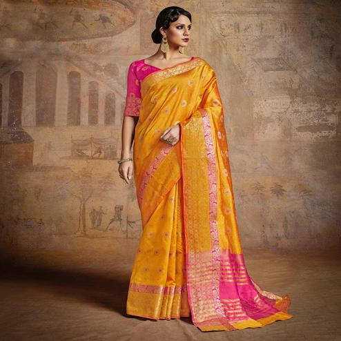 Glowing Yellow-Pink Colored Festive Wear Woven Silk Saree