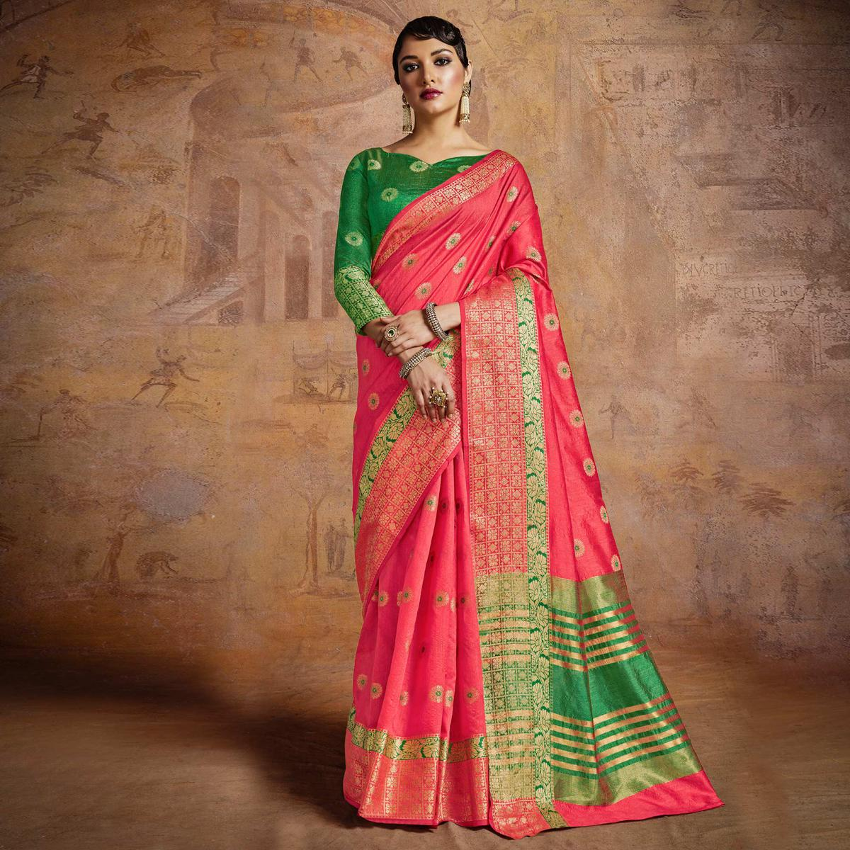 Dashing Coral Pink-Green Colored Festive Wear Woven Silk Saree