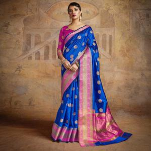 Blissful Blue-Pink Colored Festive Wear Woven Silk Saree
