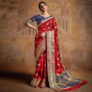 Vibrant Red-Blue Colored Festive Wear Woven Silk Saree