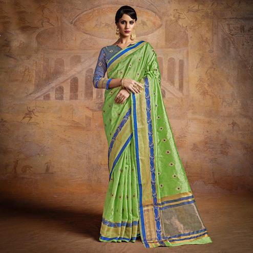 Refreshing Green-Blue Colored Festive Wear Woven Silk Saree