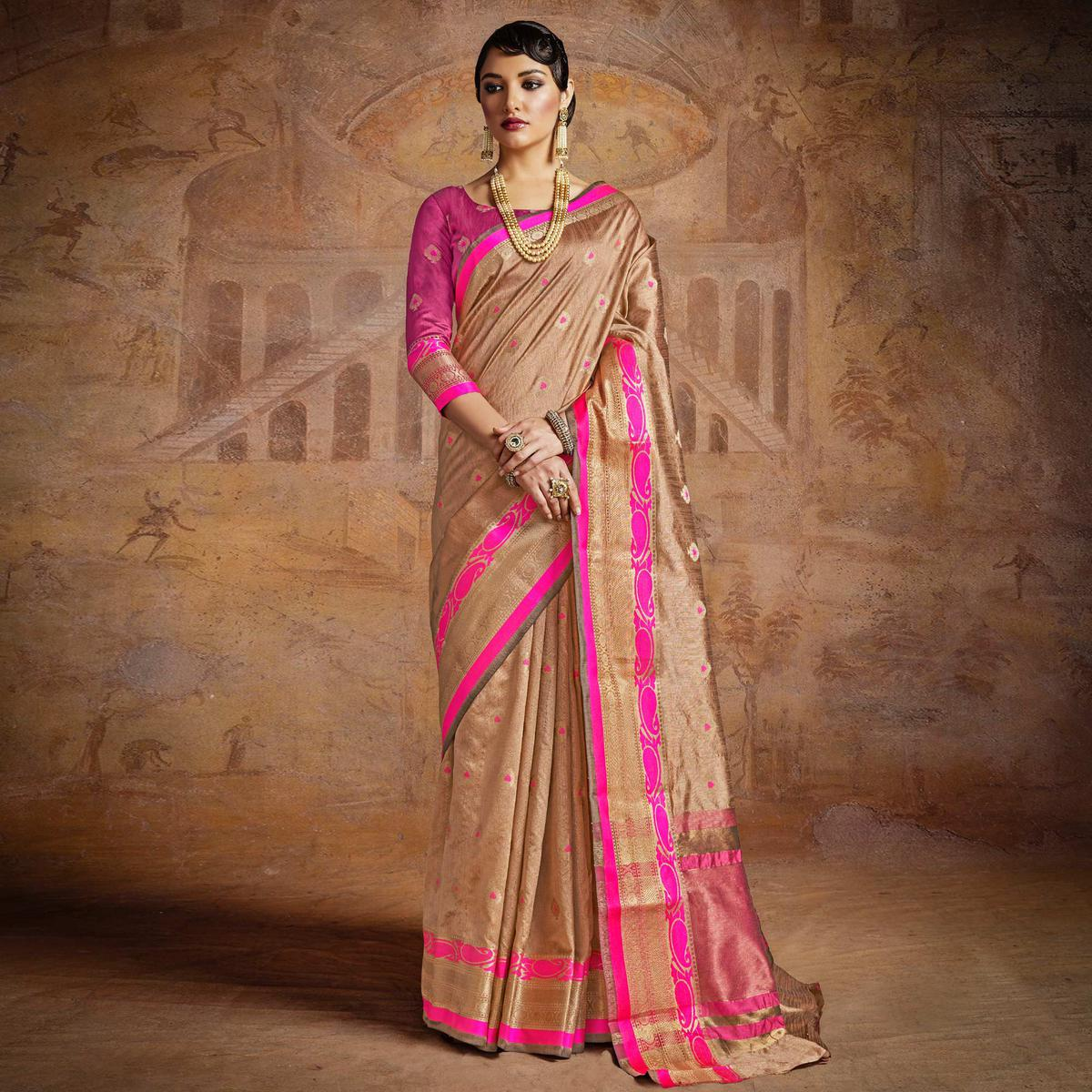 Bold Brown-Pink Colored Festive Wear Woven Silk Saree