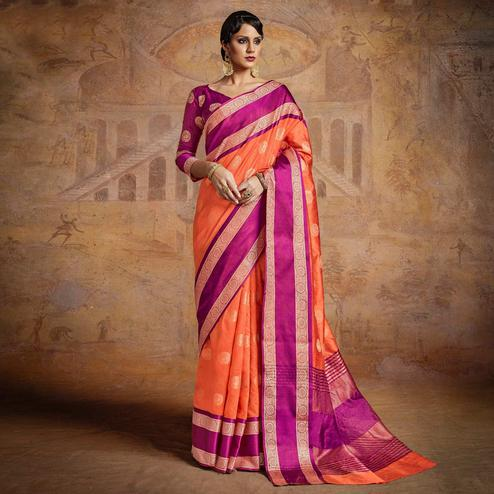 Adorning Orange-Pink Colored Festive Wear Woven Silk Saree