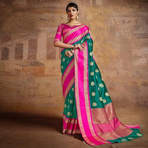 Ravishing Green-Pink Colored Festive Wear Woven Silk Saree