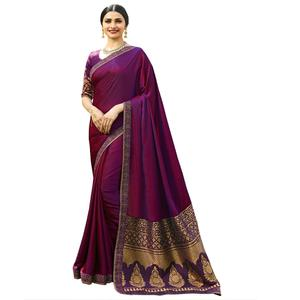 Majestic Magenta Colored Festive Wear Woven Silk Saree