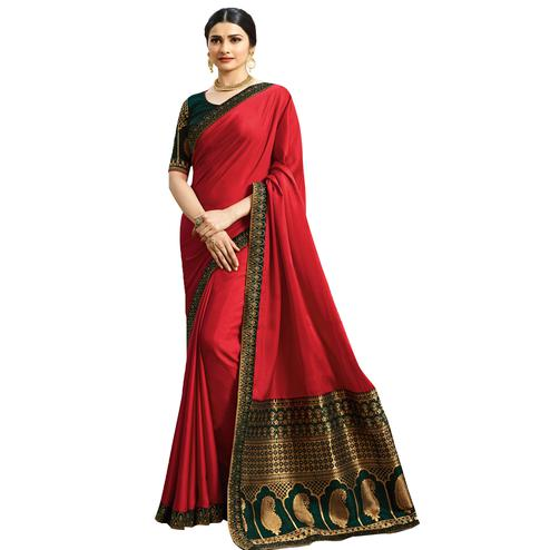 Ravishing Red Colored Festive Wear Woven Silk Saree