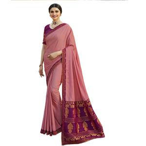 Dashing Pink Colored Festive Wear Woven Silk Saree