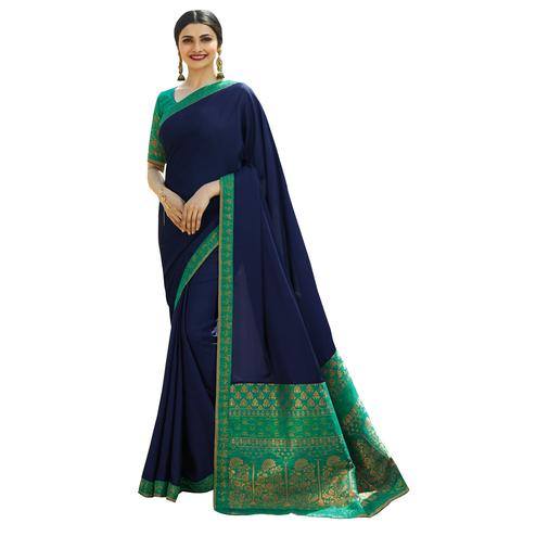 Adorning Blue Colored Festive Wear Woven Silk Saree