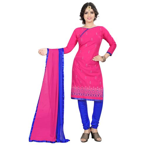 Radiant Pink Colored Casual Embroidered Cotton Suit