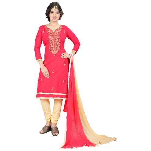 Glowing Coral-Pink Colored Casual Embroidered Cotton Suit