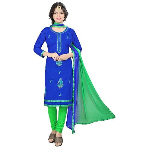 Elegant Blue Colored Casual Embroidered Cotton Suit