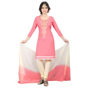 Magical Light Pink Colored Casual Embroidered Cotton Suit