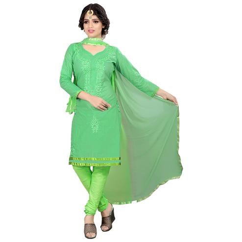 Refreshing Green Colored Casual Embroidered Cotton Suit