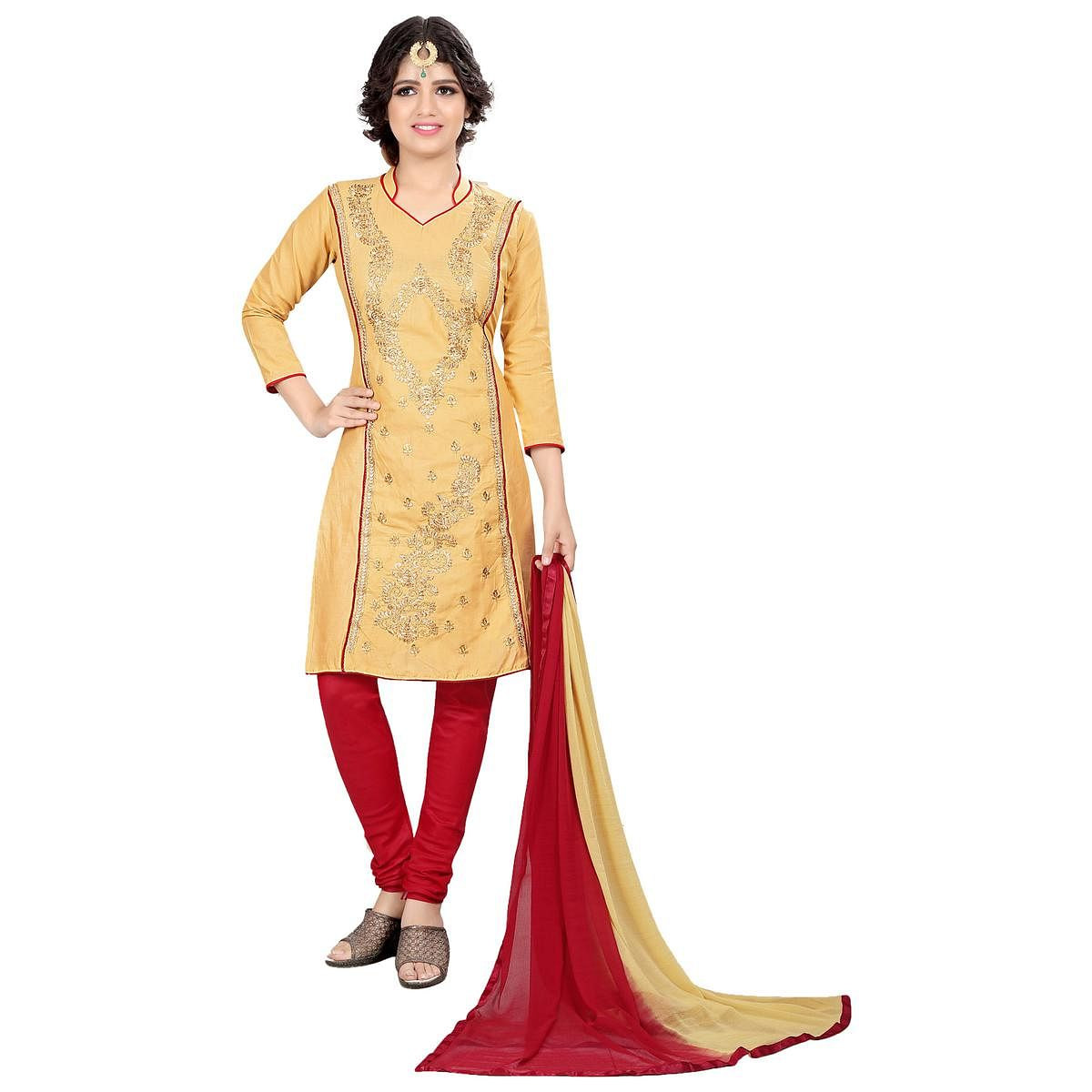 Classy Beige Colored Casual Embroidered Cotton Suit