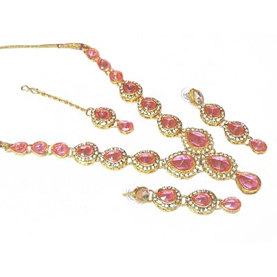 Pink Tilak Stone Necklace Stone