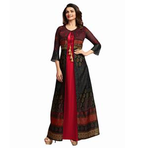 Stylish Red Colored Partywear Printed Crepe Long Kurti