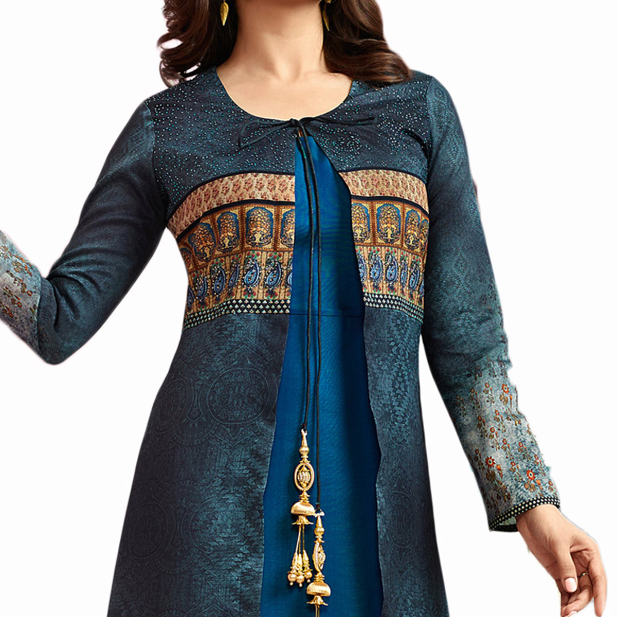 Classy Blue Colored Partywear Printed Crepe Long Kurti