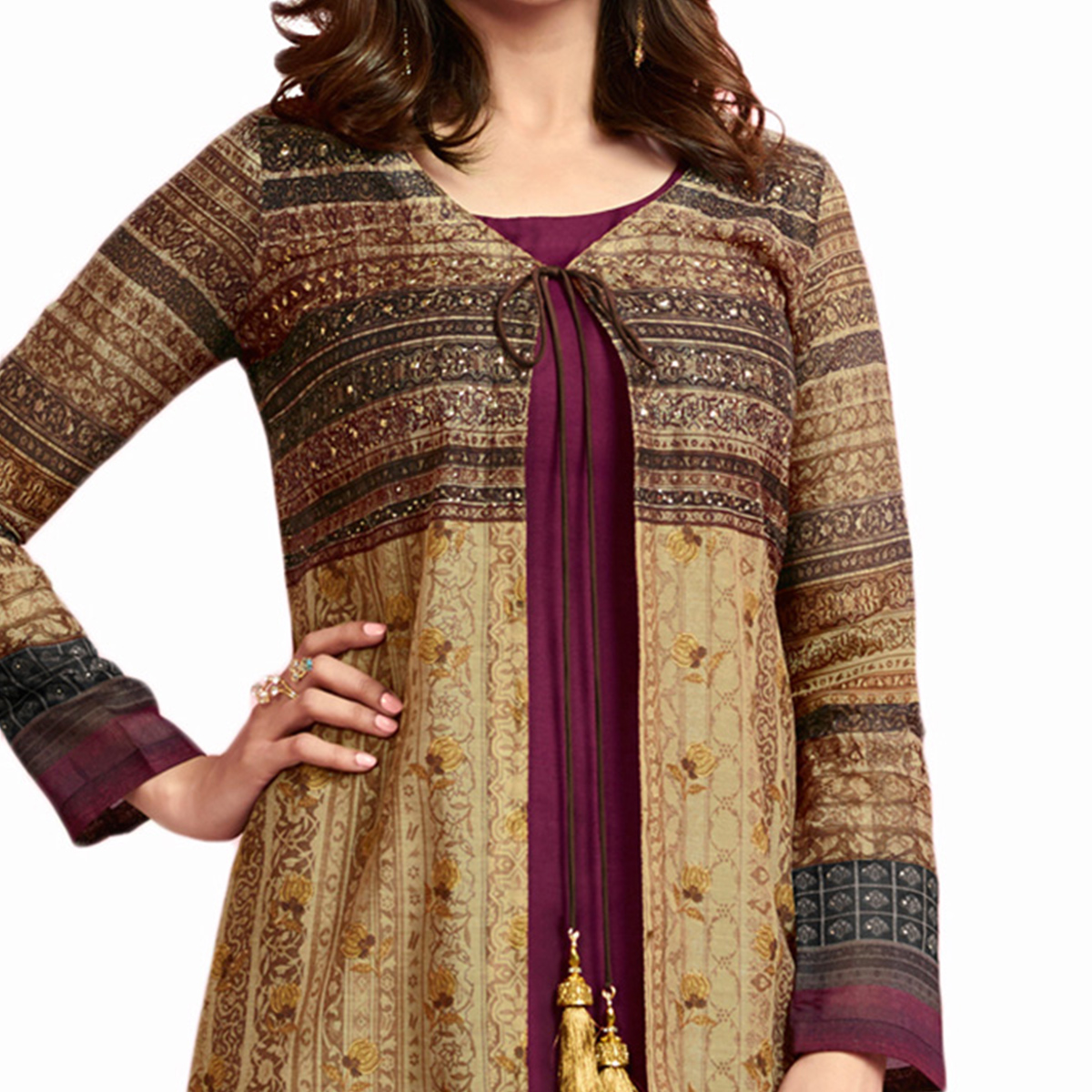 Exceptional Beige-Wine Colored Partywear Printed Crepe Long Kurti