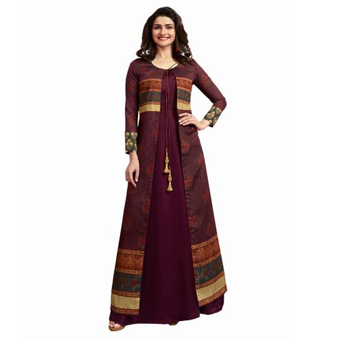 Excellent Wine Colored Partywear Printed Crepe Long Kurti