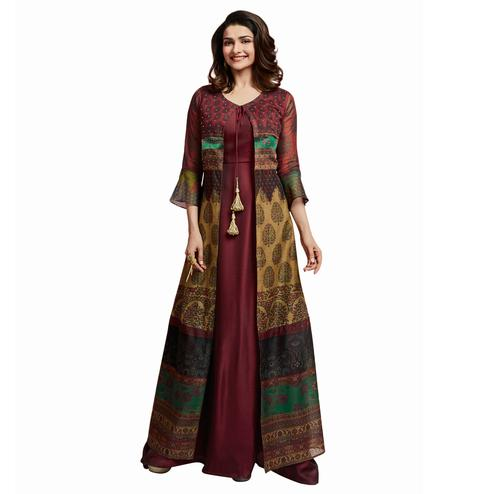 Impressive Maroon Colored Partywear Printed Crepe Long Kurti