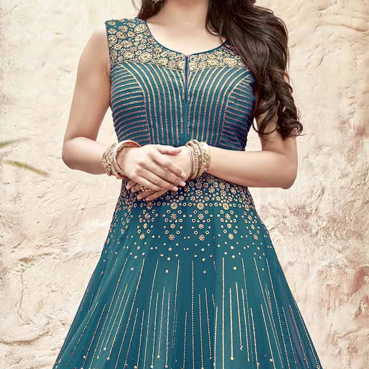 Appealing Turquoise Anarkali Suit