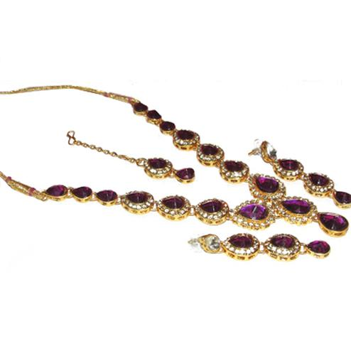 Purple Single Line Necklace Set