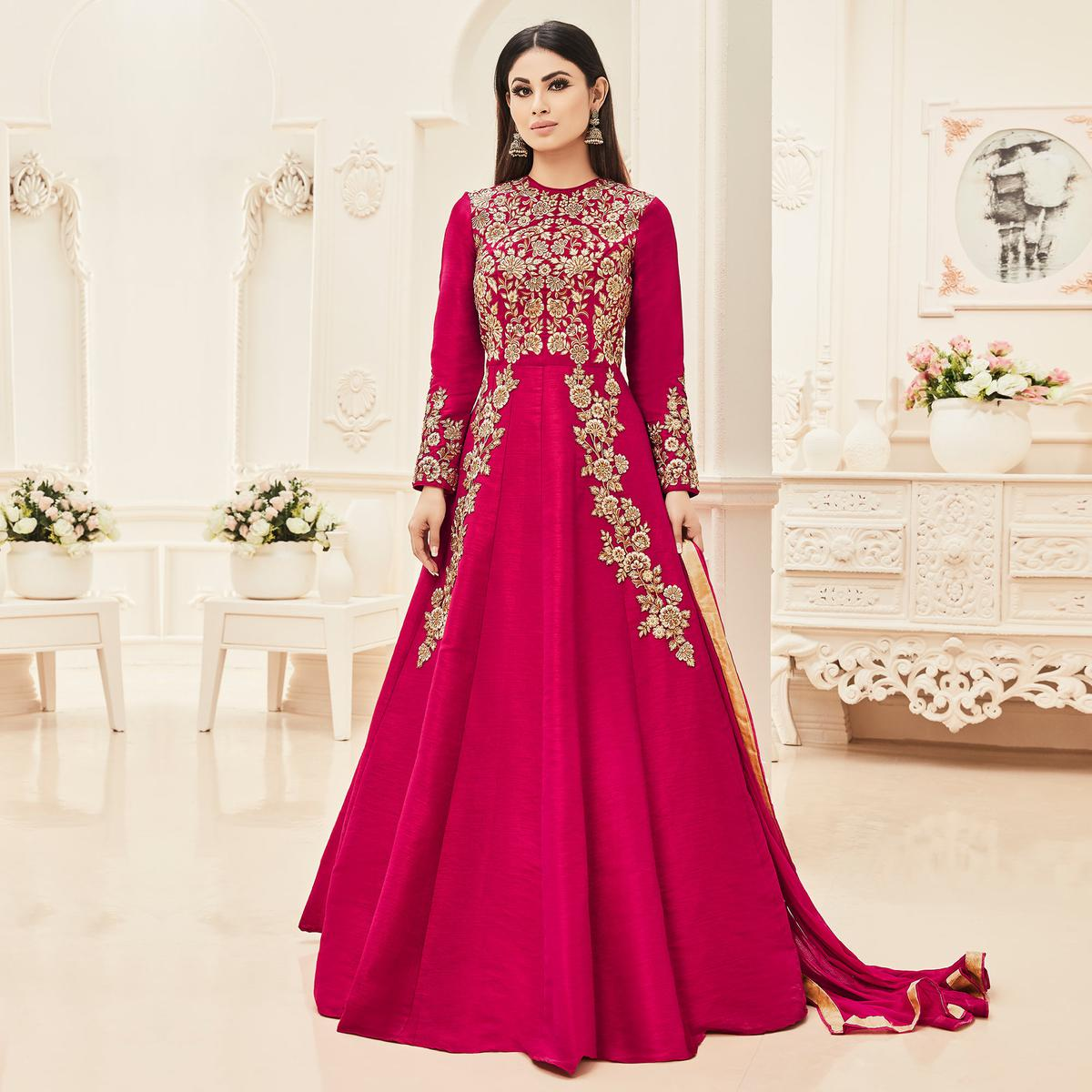 Pink Cotton Silk Floor Length Anarkali Suit