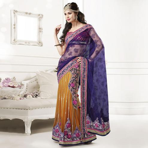 Purple - Mustard Lehenga Saree