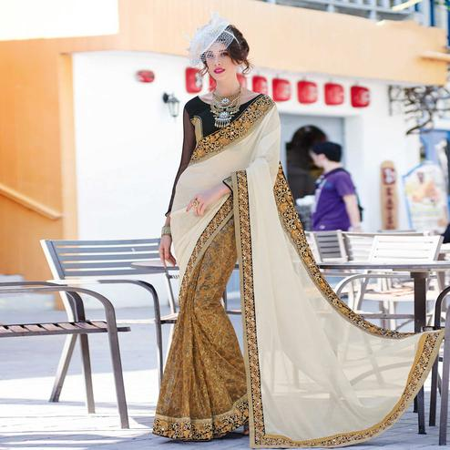 Dusty Mustard - Beige Net & Chiffon Saree