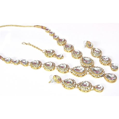 White Tilak Stone Necklace Set