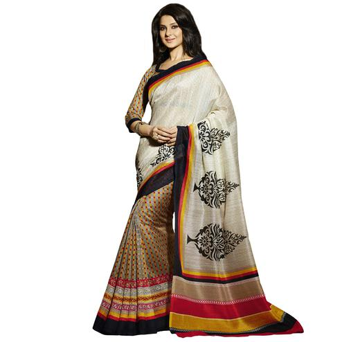 Off White - Grey Casual Printed Saree