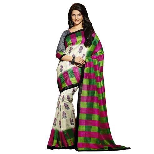 Off White - Green Bhagalpuri Silk Saree