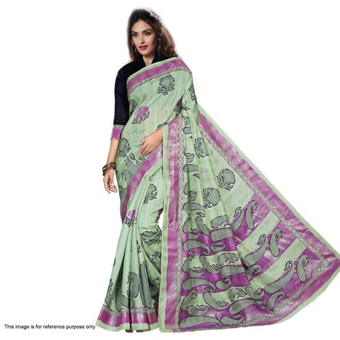 Pista Green Bhagalpuri Silk Saree